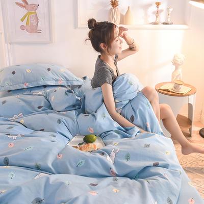 2019新款纯棉生态磨毛四件套 1.5m床单款四件套 千叶寻梦-蓝