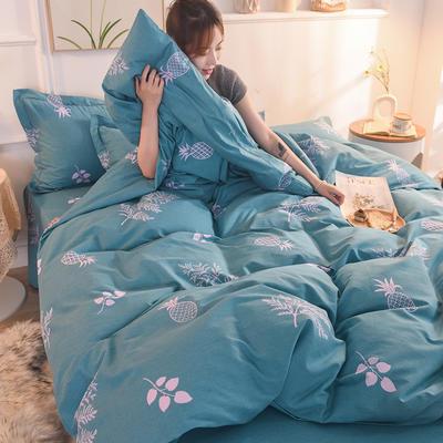 2019新款纯棉生态磨毛四件套 1.5m床单款四件套 香水菠萝