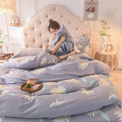 2019新款纯棉生态磨毛四件套 1.5m床单款四件套 向阳花开-灰