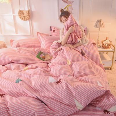 2019新款纯棉生态磨毛四件套 1.5m床单款四件套 小象之歌-粉