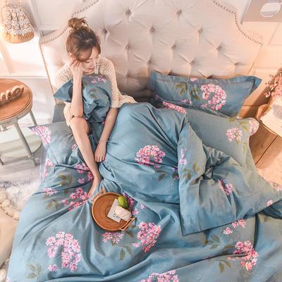 2019新款纯棉生态磨毛四件套 1.5m床单款四件套 绣花球