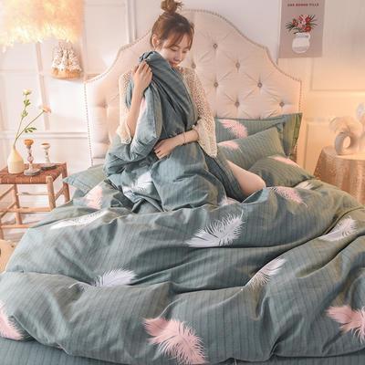 2019新款纯棉生态磨毛四件套 1.5m床单款四件套 叶羽