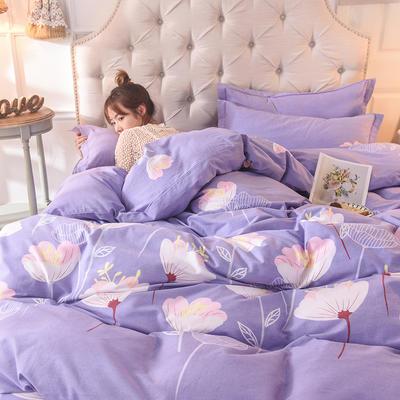 2019新款纯棉生态磨毛四件套 1.5m床单款四件套 优雅绽放—紫