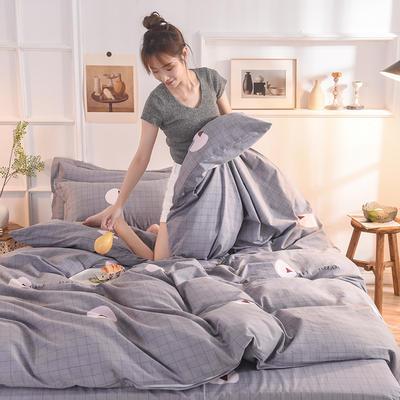 2019新款纯棉生态磨毛四件套 1.5m床单款四件套 追梦-灰