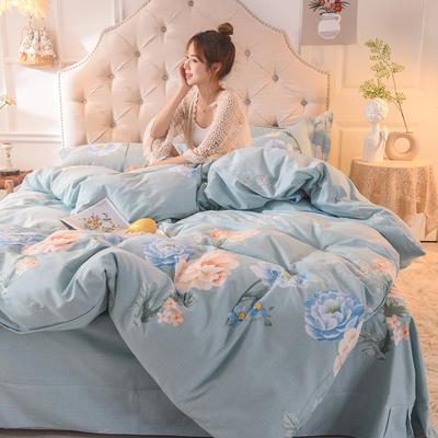 2019新款全棉生态磨毛单被套款 200X230cm 花语纷菲-蓝