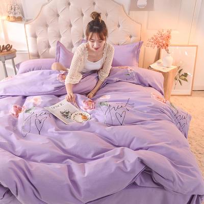 2019新款全棉生态磨毛单被套款 160x210cm 梦醉花轩=紫