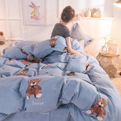 2019新款全棉生态磨毛单被套款 160x210cm 泰迪熊