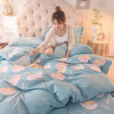 2019新款全棉生态磨毛单被套款 160x210cm 优雅绽放-蓝