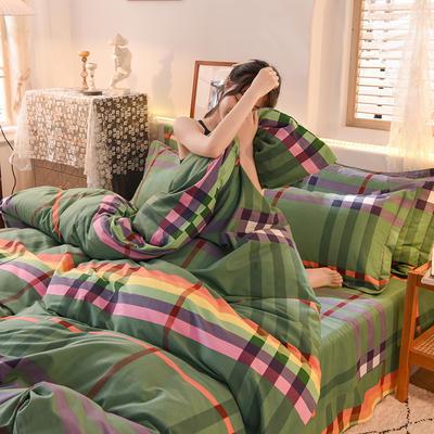 2020新款全棉生态磨毛四件套 1.35m床单款三件套 时尚秀.绿
