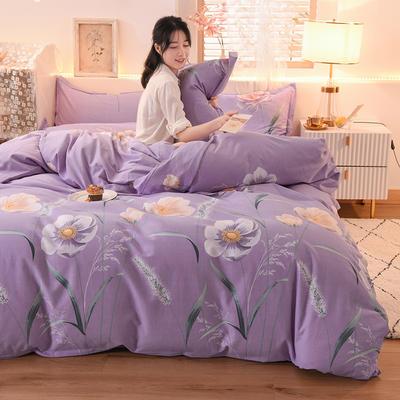 2020新款全棉生态磨毛四件套 1.35m床单款三件套 恬静.紫