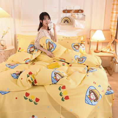 2020新款全棉生态磨毛四件套 1.35m床单款三件套 网红小妞.黄