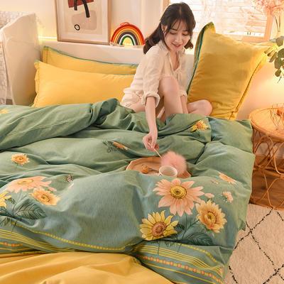 2020新款全棉生态磨毛四件套 1.35m床单款三件套 向阳花.绿