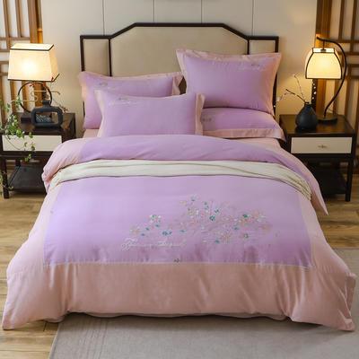 2020新款全棉活性生态磨毛绣花工艺款四件套 1.5m床单款四件套 恬静午后.紫