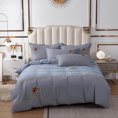 2020新款全棉活性生态磨毛绣花工艺款四件套 1.5m床单款四件套 英伦风范.蓝灰