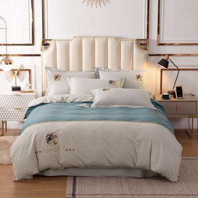 2020新款全棉活性生态磨毛绣花工艺款四件套 1.5m床单款四件套 英伦风范.绿