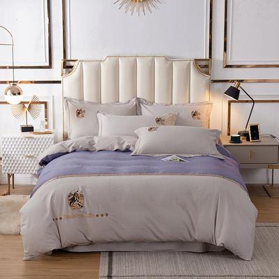 2020新款全棉活性生态磨毛绣花工艺款四件套 1.5m床单款四件套 英伦风范.紫