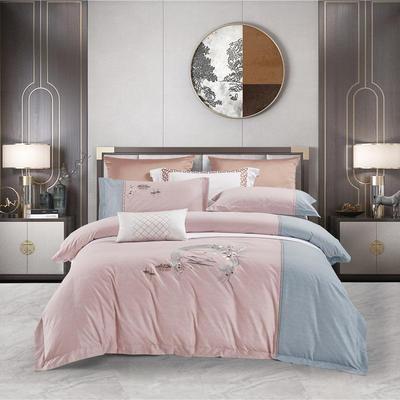 2020新款60S色纺磨毛拼接肌理纹刺绣四件套 1.5m床单款四件套 丹山霁色.粉色