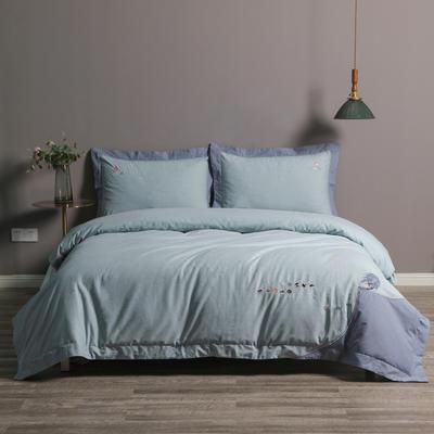 2020新款60S色纺磨毛拼接肌理纹刺绣四件套 1.5m床单款四件套 星空传奇.水蓝