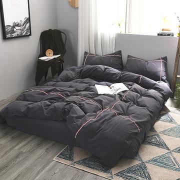 洛可可系列水洗棉四件套-床笠款 被套200*230 床笠150*200 灰石