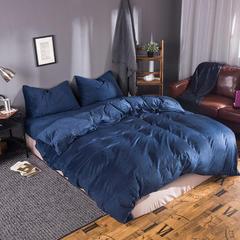 无印良品 天鹅绒四件套 1.2米床单款 藏青色