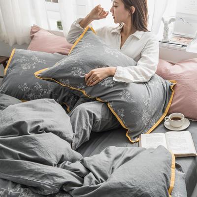 2019新款-色织水洗纱布大提花四件套 1.8m(6英尺)床 怀莎