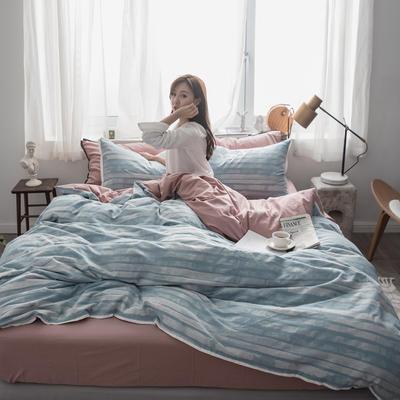 2019新款-色织水洗纱布大提花四件套 1.8m(6英尺)床 曼卡-蓝