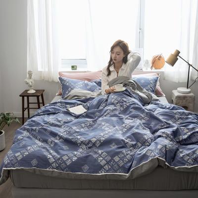 2019新款-色织水洗纱布大提花四件套 1.8m(6英尺)床 西雅图-蓝