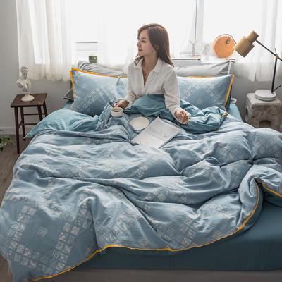 2019新款-色织水洗纱布大提花四件套 1.8m(6英尺)床 西雅图-浅蓝