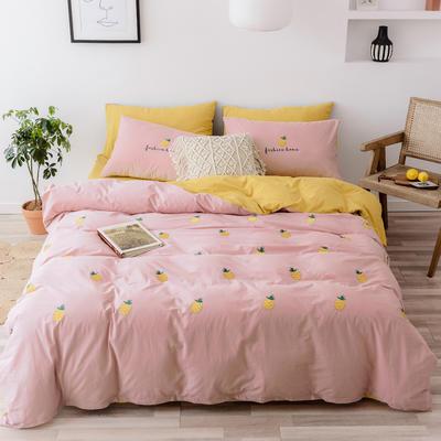 2019新款-全棉水洗棉四件套 床笠款1.5m(5英尺)床 菠萝 粉