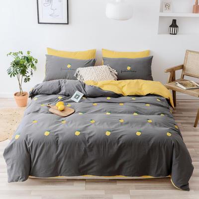2019新款-全棉水洗棉四件套 床笠款1.5m(5英尺)床 菠萝 深灰