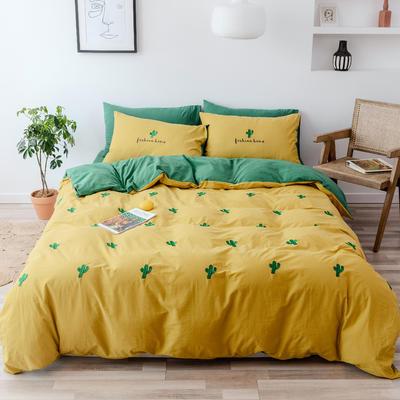 2019新款-全棉水洗棉四件套 床笠款1.5m(5英尺)床 仙人掌 黄