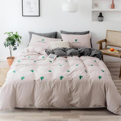 2019新款-全棉水洗棉四件套 床笠款1.5m(5英尺)床 仙人掌 卡其