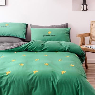 2019新款-全棉水洗棉四件套 床笠款1.5m(5英尺)床 仙人掌 墨绿