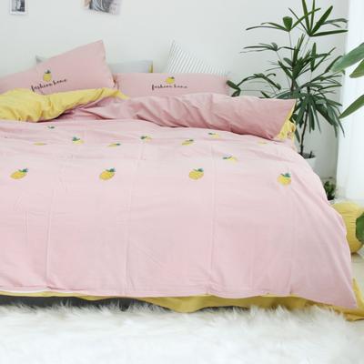 2019网红水洗棉-全棉水洗棉四件套(实拍) 床单款1.8m(6英尺)床 粉 菠萝