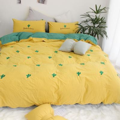 2019网红水洗棉-全棉水洗棉四件套(实拍) 床单款1.8m(6英尺)床 黄色 仙人掌