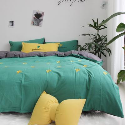 2019网红水洗棉-全棉水洗棉四件套(实拍) 床单款1.8m(6英尺)床 墨绿 仙人掌