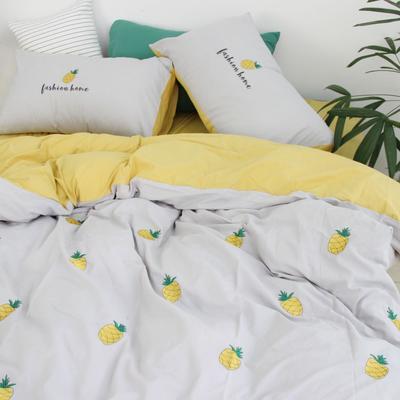 2019网红水洗棉-全棉水洗棉四件套(实拍) 床单款1.8m(6英尺)床 浅灰菠萝