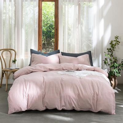 2019新款-无印水洗棉基础款四件套 床笠款三件套1.2m(4英尺)床 粉灰细条