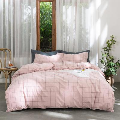 2019新款-无印水洗棉基础款四件套 床笠款三件套1.2m(4英尺)床 粉灰中格