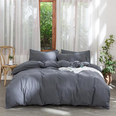 2019新款-无印水洗棉基础款四件套 床笠款三件套1.2m(4英尺)床 灰细条