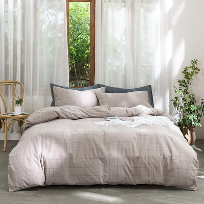 2019新款-无印水洗棉基础款四件套 床笠款三件套1.2m(4英尺)床 咖啡中格