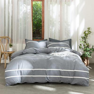 2019新款-无印水洗棉基础款四件套 床笠款三件套1.2m(4英尺)床 千霜