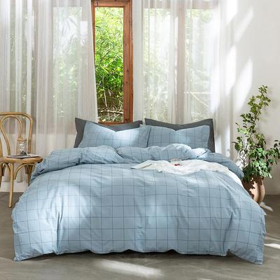 2019新款-无印水洗棉基础款四件套 床笠款三件套1.2m(4英尺)床 雾蓝中格