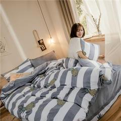 ins棉加绒四件套水晶绒四件套法莱绒四件套升级款零静电 1.2m(4英尺)床 热带风
