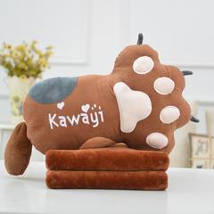 一帆玩具熊掌抱枕 抱枕52*38*18cm毛毯1*1.7m 棕色