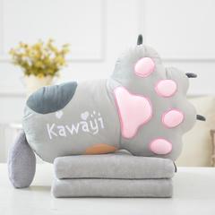 一帆玩具熊掌抱枕 抱枕52*38*18cm毛毯1*1.7m 灰色