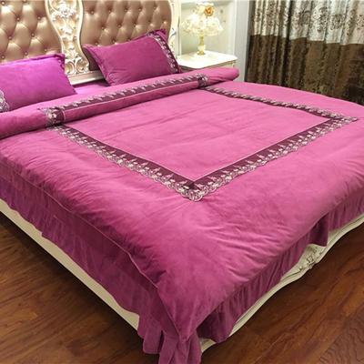 2019新款法式蕾丝款华肤绒四件套 1.8m(6英尺)床 琳达-玫紫