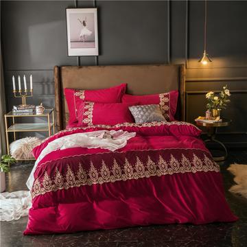 星尚家纺 2018新款法式蕾丝款华肤绒四件套 1.5m(5英尺)床 安娜-酒红