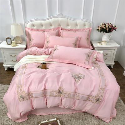 2018新款60长绒棉 畅销款四件套 1.5m(5英尺)床 纱幔-粉玉