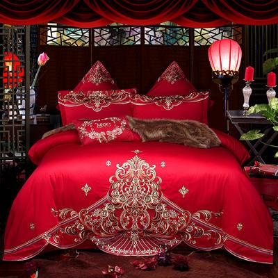 2018新款高端婚庆60长绒棉重工刺绣四件套 1.5m(5英尺)床 火树银花